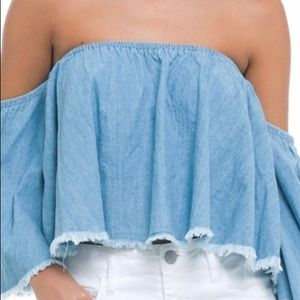 Elan off the shoulder denim fringe crop top